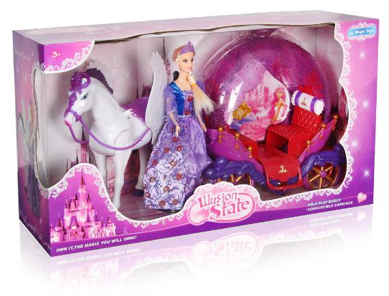 Карета с куклой и лошадью