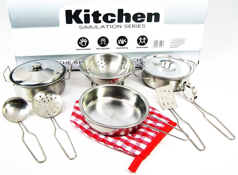 Кухонная металлическая посуда для детей