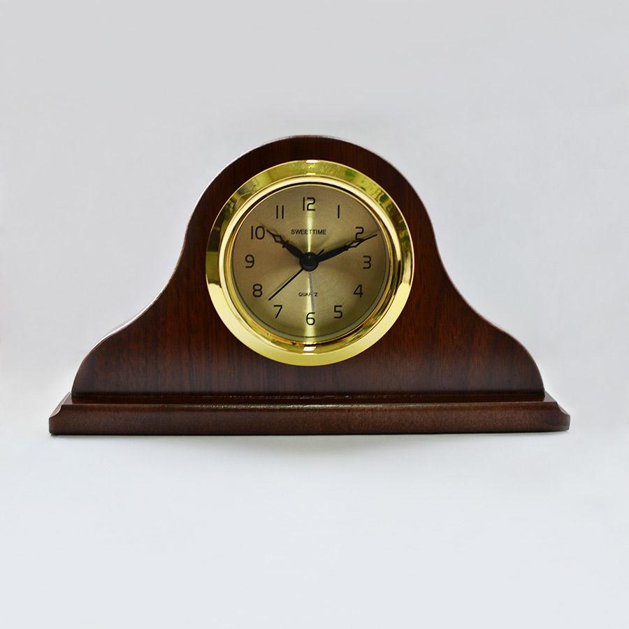 Часы+будильник в деревянной оправе